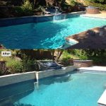 Pool plaster with Blue Diamond Pebble, Pool Tile Verona Blue, Water fountain with tile