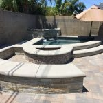 Corner Spa Water feature pavers firepit