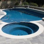 Pool spa white coping pavers handrail