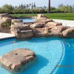 Pool spa rockwork wetedge baja bench