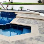 pool and spa, 1x1 tiles, pebble finish contemporary design